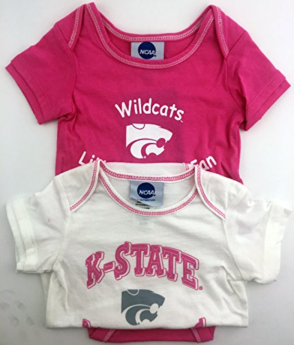 Pack of 2 OuterStuff Officially Licensed Infant 18 Month Kansas State Wildcats Baby Girls Pink and White Onesie Romper Creepers