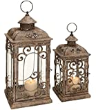 Deco 79 Metal Glass Lantern, 20 by 15-Inch
