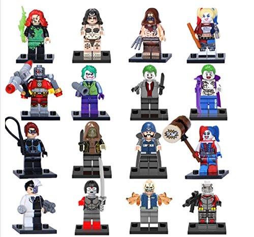 16pcs Super Heroes Avengers Suicide Squad Joker Harley Quinn Samurai Sword Minifigures Building Blocks Toys Compatible with lego