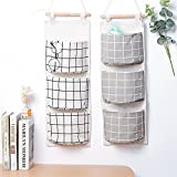 kitchen 67 hours 2 Packs Linen Cotton Fabric Wall Door Closet Hanging Storage Bag 3 Pockets Over the Door Organizer for Room Bathroom by HomRing