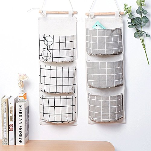 2 Packs Linen Cotton Fabric Wall Door Closet Hanging Storage Bag 3 Pockets Over the Door Organizer for Room Bathroom by HomRing (Door Wall Hanging)