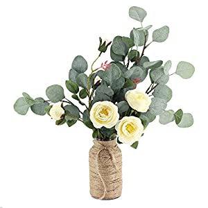 """Supla 6 Pcs Artificial Silver Dollar Eucalyptus Leaf Spray in Green 25.5"""" Tall Artificial Greenery Holiday Greens Christmas Greenery 4"""