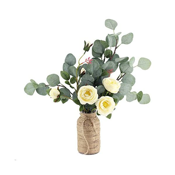 Supla-6-Pcs-Artificial-Silver-Dollar-Eucalyptus-Leaf-Spray-in-Green-255-Tall-Artificial-Greenery-Holiday-Greens-Christmas-Greenery