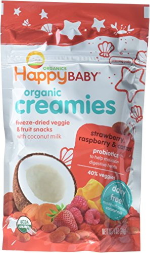 Happy Baby Organic Creamies Freeze-Dried Veggie & Fruit Snacks with Coconut Milk, Strawberry, Raspberry & Carrot, 1 oz (Pack of 8) - Packaging may vary