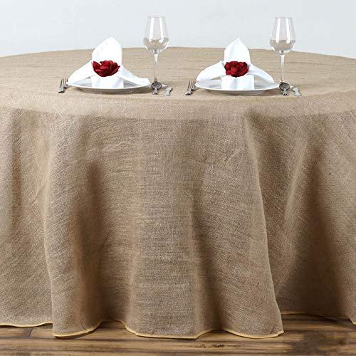 "Efavormart 108"" Wholesale Natural Rustic Burlap Tablelinens Jute Round Tablecloth for Wedding Event Decoration"