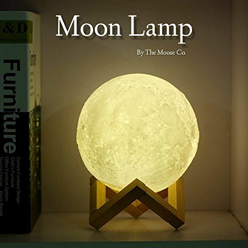 Ivory Rustic Chandelier (Moon Lamp by The Moose Company | 3D Printed Glowing Astronomy light With Wood Stand | Dimmable LED Touch Control - 10CM)