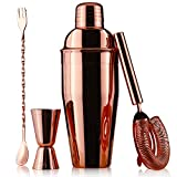 Juvale 4-Piece Mixology Kit, Copper Plated Cocktail Drink Shaker and Barware Accessories Set