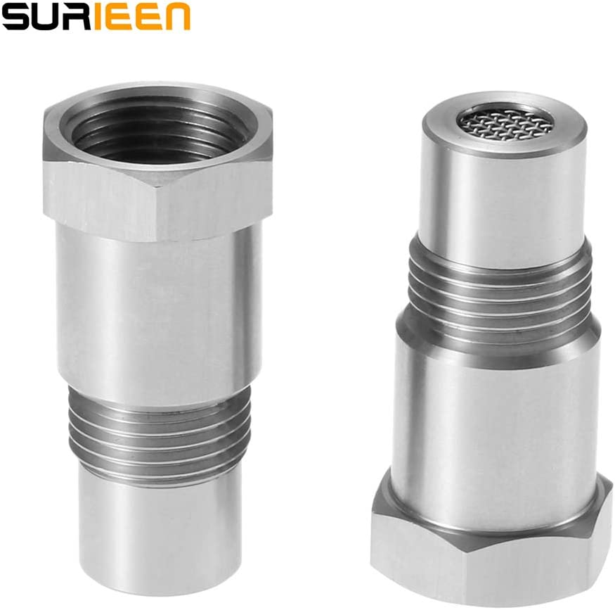 304 Stainless Steel 2 Pcs Oxygen Sensor Spacer O2 Sensor Bung Adapter Oxygen Sensor Bung Spacer Extension Extender M18x1.5