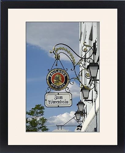 framed-print-of-wrought-iron-sign-advertising-paulaner-and-lowenbrau-beer-wolfrathausen