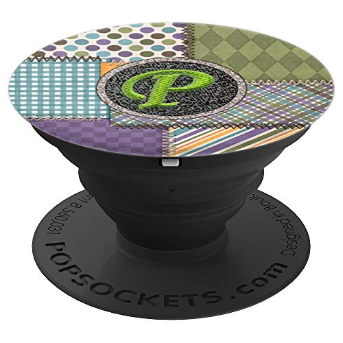 (Initial Monogram Letter P Pretty Sewn Fabric Quilt Pattern - PopSockets Grip and Stand for Phones and Tablets)