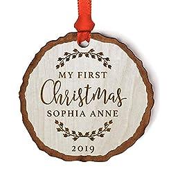 Christmas Farmhouse Home Decor Andaz Press Personalized Baby 1st Christmas Real Wood Rustic Farmhouse Keepsake Christmas Ornament, Engraved Wood Slab…