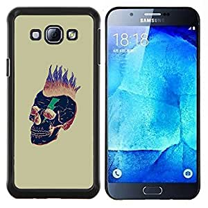 LECELL--Funda protectora / Cubierta / Piel For Samsung Galaxy A8 A8000 -- Pelo Punk Oro Cráneo Muerte Negro --