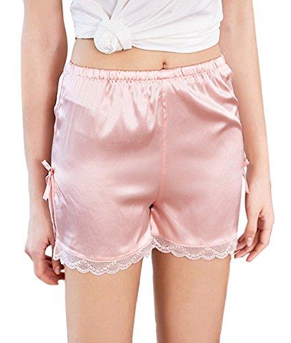 (Edith qi Women's Satin Lace Shorts,Pettipants Lingerie Culotte Sleep Lounge Slip Bloomers Split Skirt Pink)