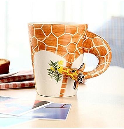 Amazon.com: Bestag 3D Hand-painted Cute Giraffe Animals Ceramic ...