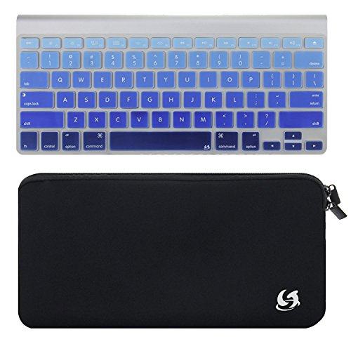 Litop 2 in 1 Black Color Zippered Neoprene Keyboard Sleeve Case Sleeve Bag and Deep Blue Gradient Thin Silicone Keyboard Cover Keyboard Skin for Apple Bluetooth Wireless Keyboard MC184LL/B (Case with Deep Blue Gradient Cover) (Powerbook Keys Keyboard)