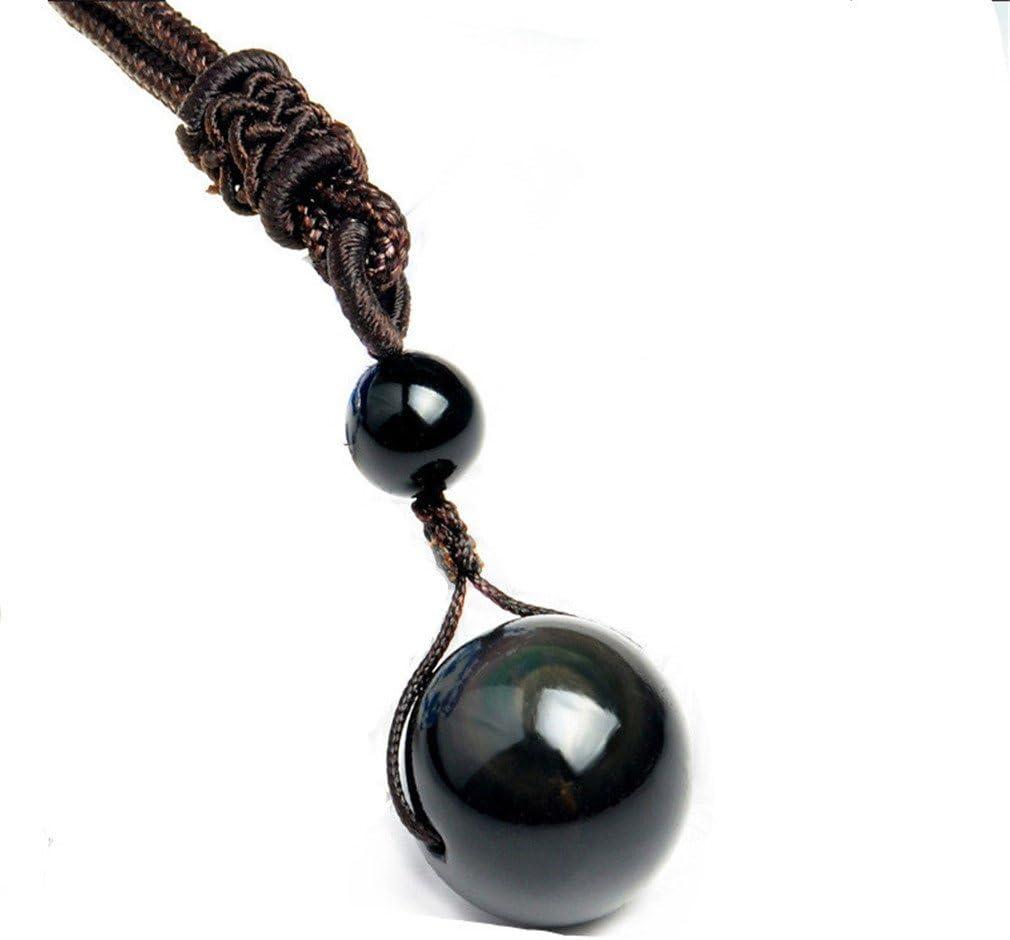 Yesiidor - Collar con colgante de obsidiana natural, piedra natural, colgante de curación de la suerte
