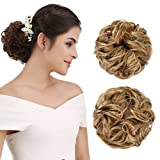 REECHO Women's Thick 2PCS Curly Wavy Updo Hair Bun Extensions Messy Hairpieces - Dark Blonde