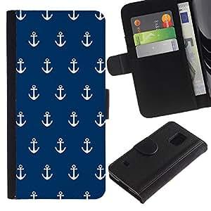 Paccase / Billetera de Cuero Caso del tirón Titular de la tarjeta Carcasa Funda para - Navy Anchor Sailor Seaman Boat Sea - Samsung Galaxy S5 V SM-G900