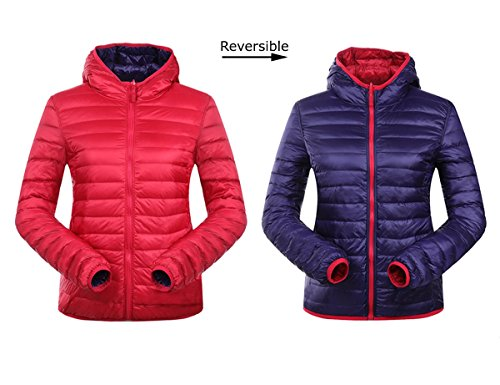 JJMG New Reversible Hooded Ultra Light Weight Warm Down Lightweight Double-Sided Design Quilted Winter Jacket Blazer for Spring Fall & Summer Nights with Hood Red Blue (Large) Breathable Fleece Reversible Jacket