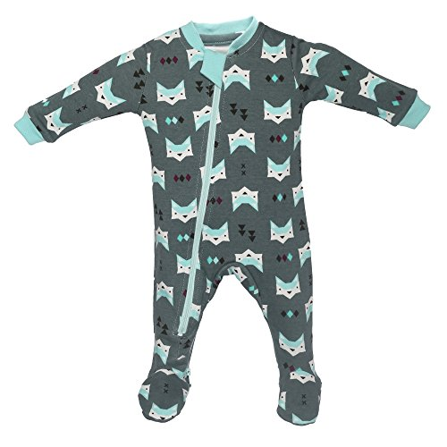 ZippyJamz Organic Baby Footed Sleeper Pajamas with Inseam Zipper for Quickier and Easier Diaper Changes ~ Quiet Fox Green (0-3 (Glow In The Dark Skeleton Suit)
