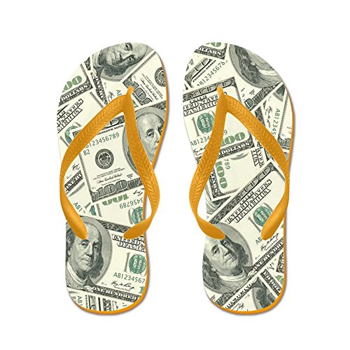 CafePress 100 Dollar Bill Pattern - Flip Flops, Funny Thong Sandals, Beach Sandals Orange
