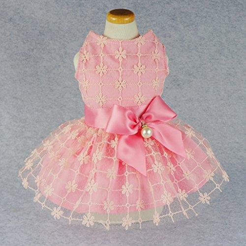 Fitwarm Fairy Pink Princess Pet Clothes for Dog Tutu Wedding Dress Shirts, Pink, X-small (Dresses For Dogs)