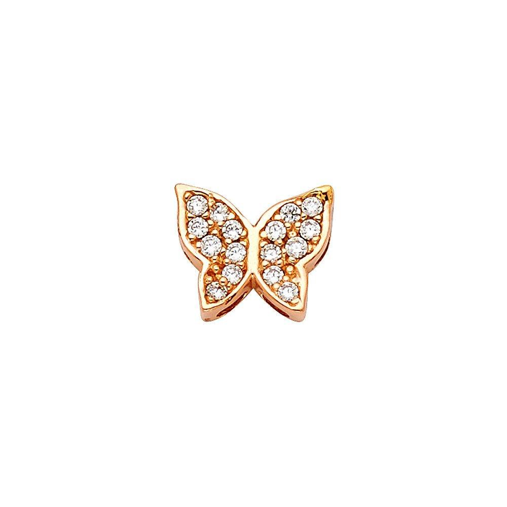 14k Rose Gold Butterfly Small//Mini Charm Slide with White CZ Stone Wings 7mm x 10mm