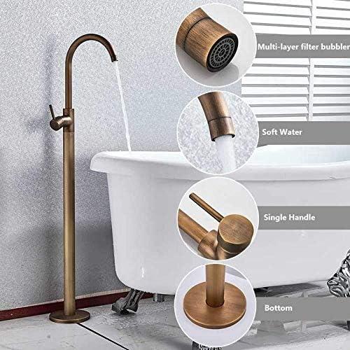 シャワーシステム シングルハンドルのミキサーのタップの浴室のシャワーの蛇口ミキサー真鍮シャワー蛇口床立ちバスタブスパウトシャワーセットシャワーシステムバスタブシャワー レインシャワーシステム (Color : Antique Brass)
