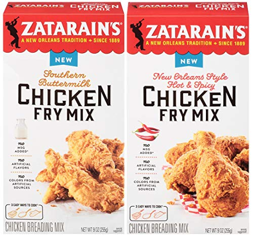Zatarain's Chicken Fry Variety Two Pack - Southern Buttermilk Chicken Fry Mix, 9 oz, and New Orleans Style Hot & Spicy Chicken Fry Mix, 9 oz