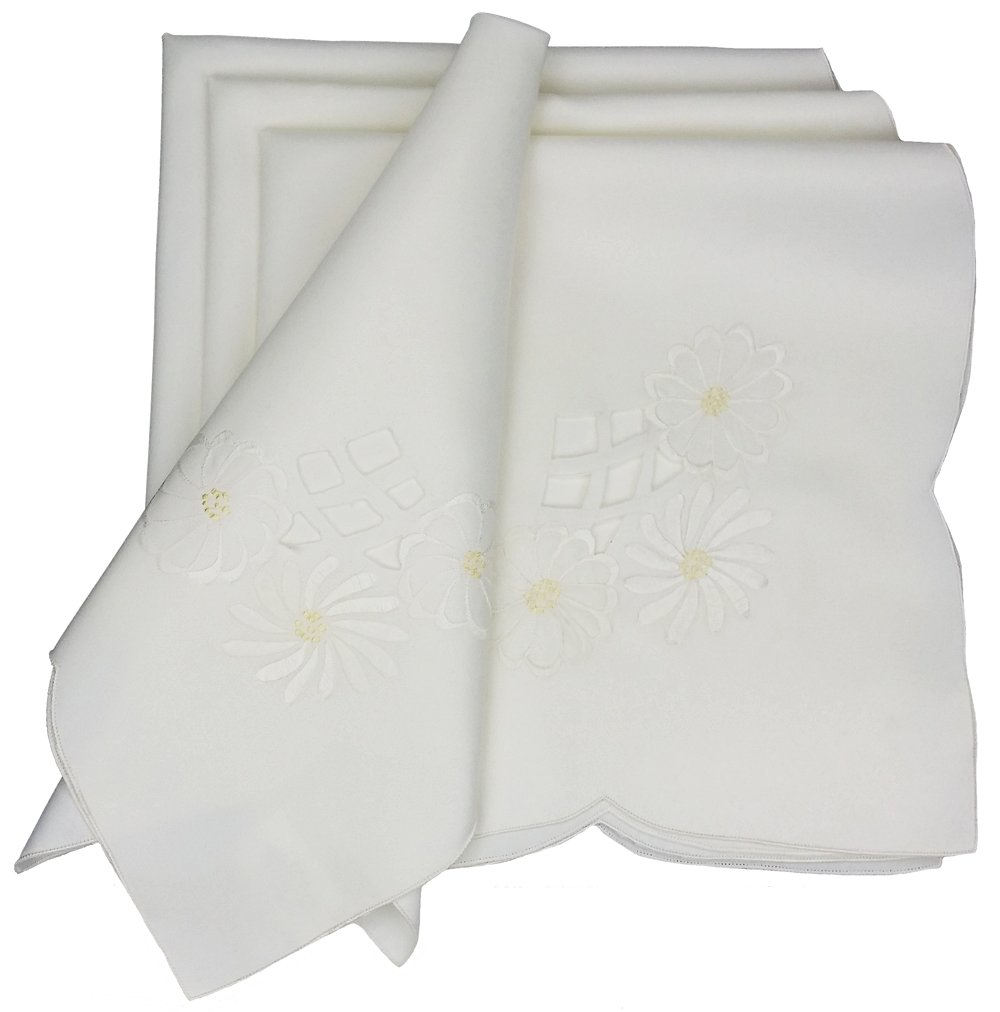 Xia Home Fashions Cutwork White Pattern with Embroidered Flower Napkin, 21 by 21-Inch, Set of 4