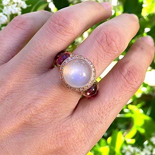 White Moonstone with Rubelite Tourmaline Cabochon Rose Gold Ring