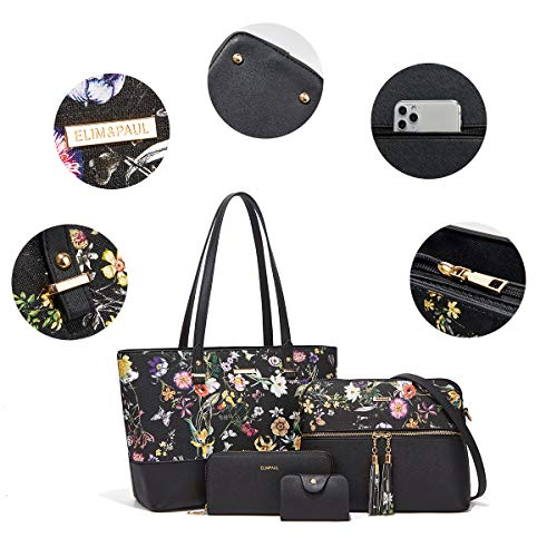 Women Fashion Handbags Tote Bag Shoulder Bag Top Handle Satchel Purse Set 4pcs