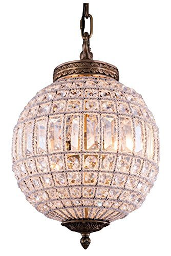 Elegant Lighting Olivia Collection 1-Light Pendant Lamp with Royal Cut Crystals, French Gold Finish