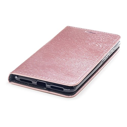 Funda Asus Zenfone 4 Max ZC554KL, CaseLover Piel PU Flip Folio Carcasa para Zenfone 4 Max ZC554KL con TPU Silicona Case Cover Interna Estilo Libro Cuero Tapa Cierre Magnético, Función de Soporte, Bill Oro rosa