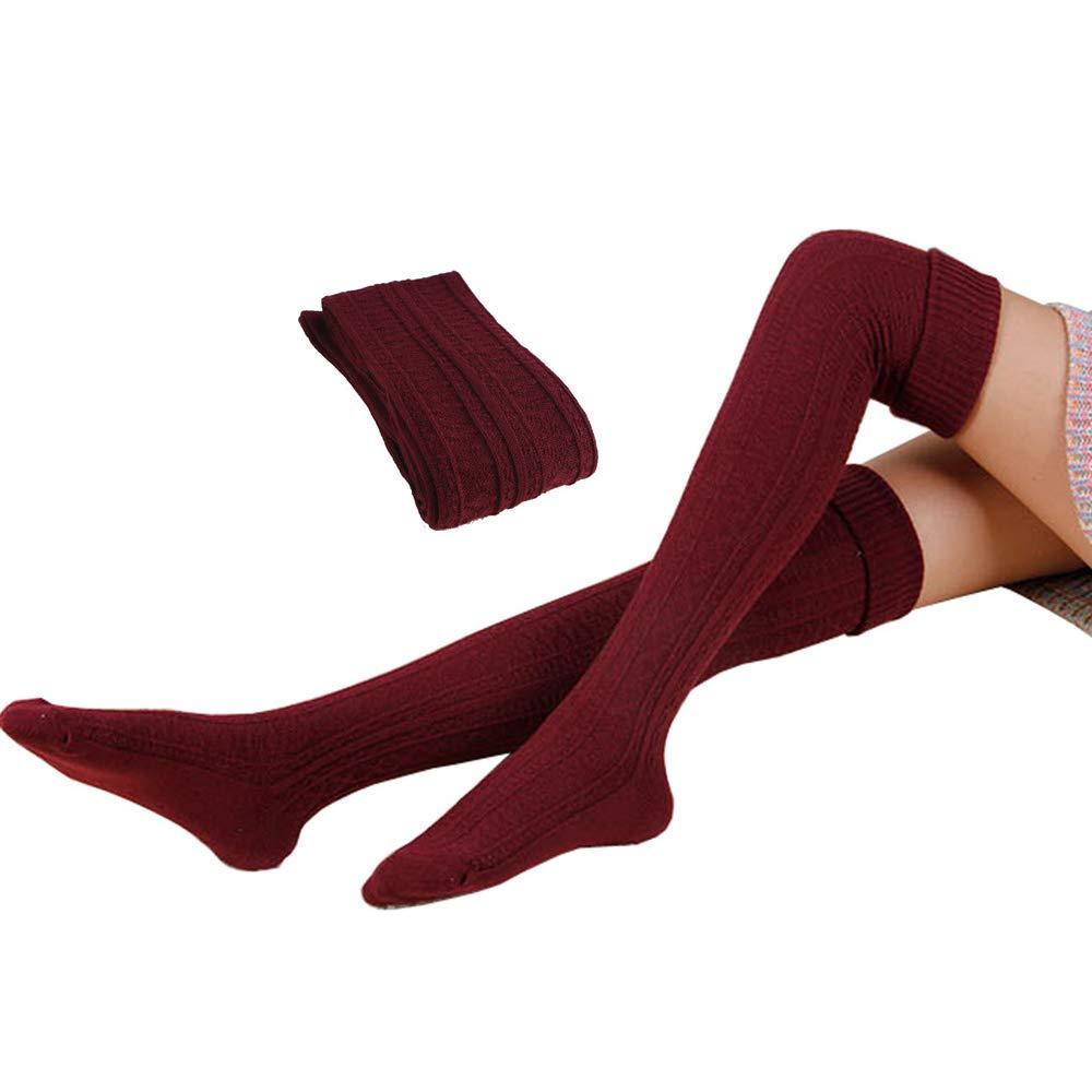 Ribart Women's Over Knee Socks Leg Warmers Sexy Crochet Knit Winter Spring Warm Thigh High Tights Stockings Leggings