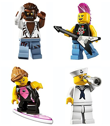 LEGO 8804 Minifigure Series 4 Collectible Bundle Figure Set: Werewolf Monster, Punk Rocker, Surfer Girl, Navy Sailor -