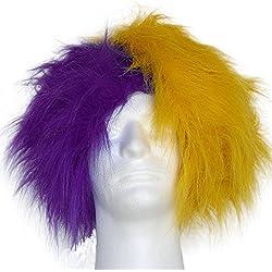 Sports Novelties Wig, Half Purple and Half Gold