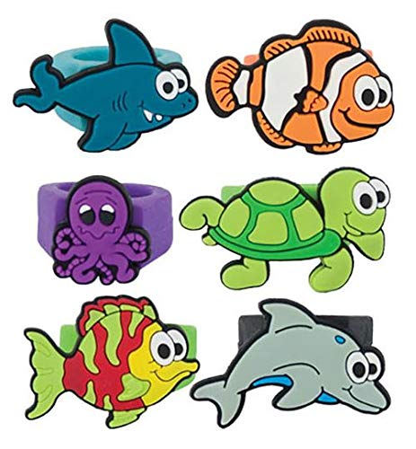 Giggle Time Kids Sea Animal Rubber Ring Assortment - (36) Pieces - Party Favors, Pinata Fillers, Gift Bags, Carnival Prizes, School Incentives