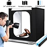 Portable Photo Studio, 24 * 24 * 24 inch Large Foldable Photography Studio Portable Light Box Kit, Photo Shooting Tents with Three-color Backdrops and 2pcs 5500k 88pcs LED Strips (60 * 60 * 60)