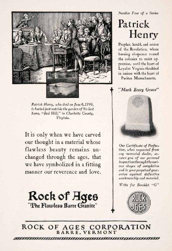 1927-ad-rock-ages-barre-vermont-patrick-henry-gravestone-charlotte-virginia-original-print-ad