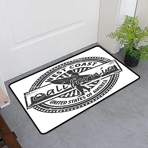 TableCovers&Home Pet Mat Machine Washable, Ride The Wave Decorative Imdoor Rugs for Office, West Coast California United States of America Grunge Vintage Stamp Print (Grey White, H32 x W48)