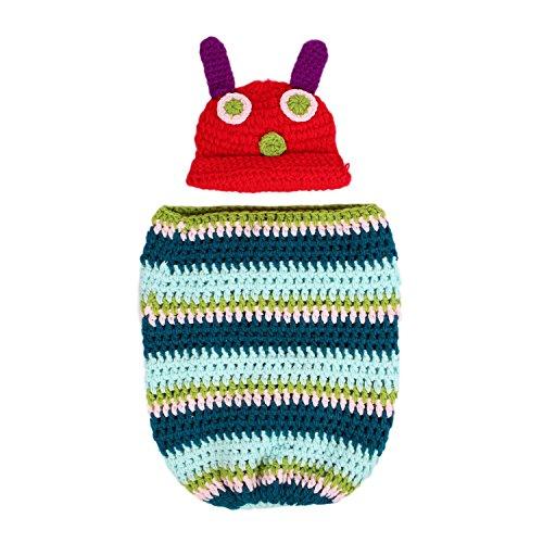 (Newborn Baby Boy Girl Beanie Crochet Very Hungry Caterpillar Hat Cocoon Set Party Costume Photo)