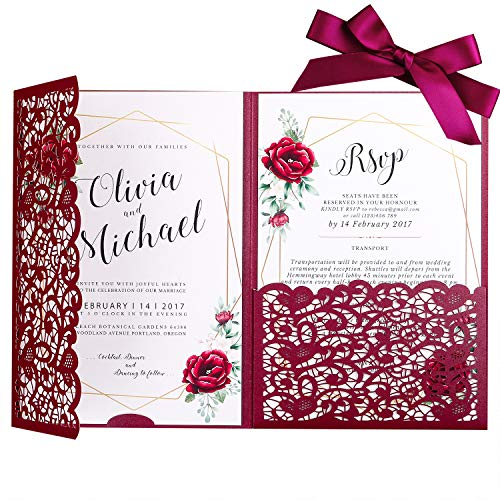 - PONATIA 20 Pieces 5.1 x 7.2 '' Laser Cut 3 Folds Hollow Flowers Wedding Invitation Cards Set with Ribbons for Wedding Bridal Shower Engagement Birthday Graduation Party Invite (Burgundy)