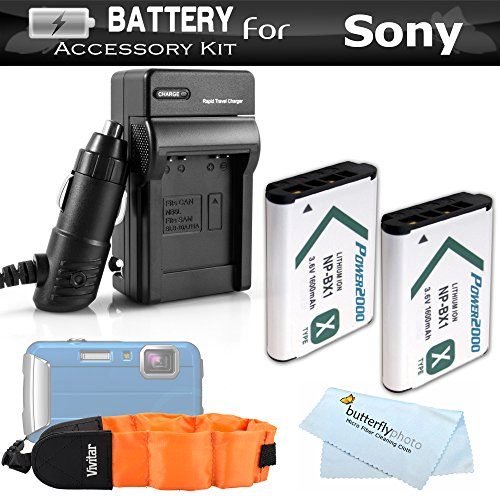 2 Pack Battery And Charger Kit For Sony HDRAS100V/W, HDR-AS100VR, HDR-AS15 HDR-AS30V, HDR-MV1, HDR-AS200V, FDR-X1000V HD Action Camcorder Includes 2 Replacement NP-BX1 Batteries + Ac/Dc Charger + More by ButterflyPhoto