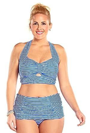 Always For Me Plus Size Neptune Stripe Bikini,Royal/White,26 Plus