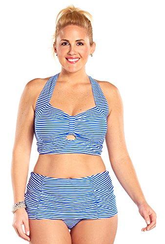 Always For Me Plus Size Neptune Stripe Bikini,Royal/White,16 Plus