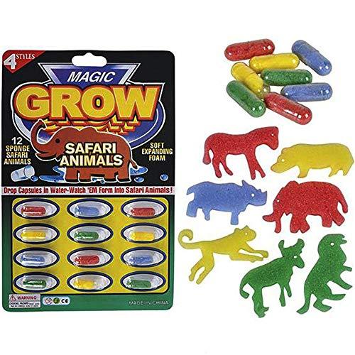 Kicko Magic Growing Animal Capsules - 1 Pack of 12 Assorted Safari Creatures - Enlarging Novelty Toys, Educational Material, Motivational Reward, Game Accessory, Easter Egg Filler