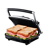 ZZ SM302 Gourmet Health Grill Panini Press & Sandwich Maker with Large Cooking Surface, Silver