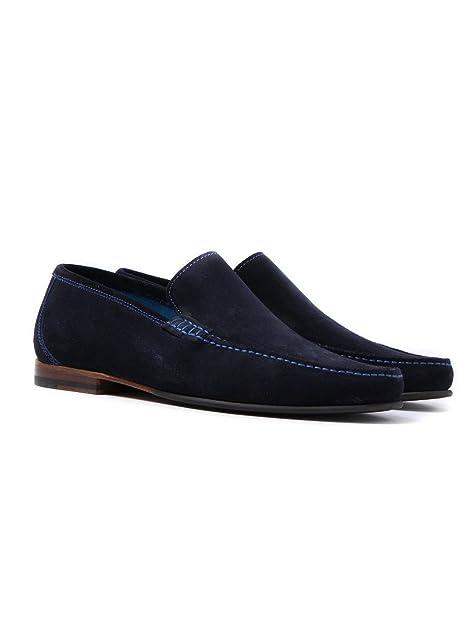 Loake Hombres Mocasines de Gamuza Nicholson Marina De Guerra: Amazon.es: Zapatos y complementos