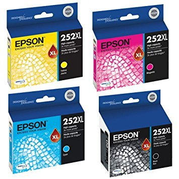 Epson T252XL120, T252XL220, T252XL320, T252XL420 High Yield Ink Cartridge Set - Epson Workforce WF-3620 (Epson Workforce Wf3620 Ink)